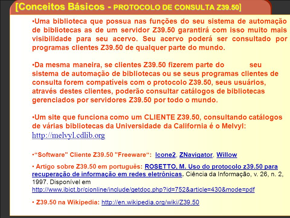 [Conceitos Básicos - PROTOCOLO DE CONSULTA Z39.50]